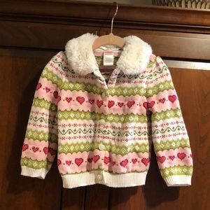 Gymboree heart sweater fur collar 18-24 mos guc